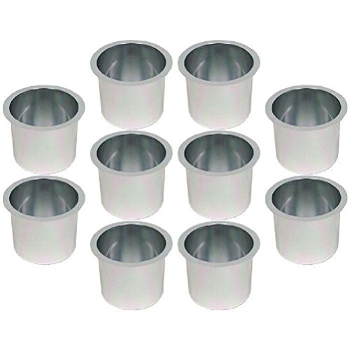 Jumbo Aluminum Poker Table Cup Holders - Silver - Set of 10