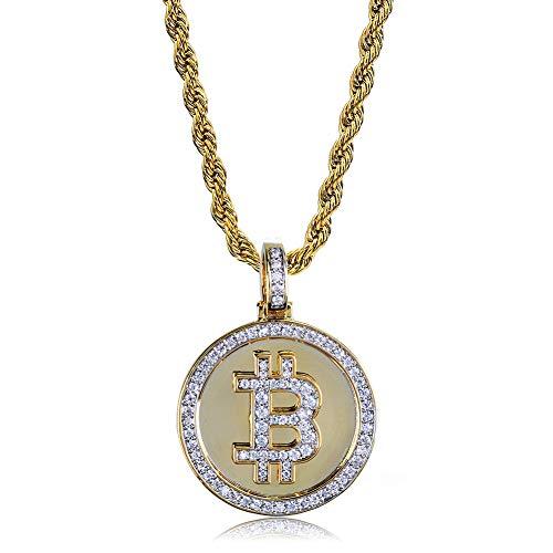 Hip Hop Bitcoin Symbol Pendant Necklace, Micro-inlaid Zircon Necklace Pendant Accessories Birthday Gift Jewelry, Pendant necklace
