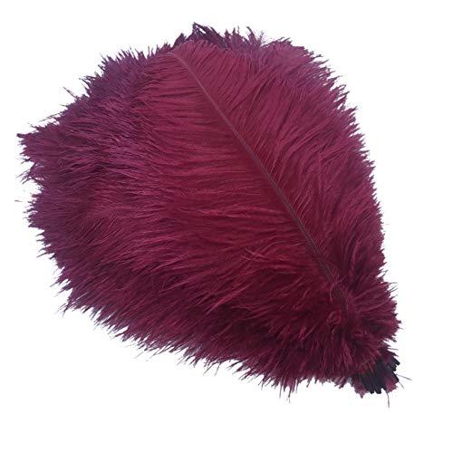 (Sowder 50pcs Natural 8-10inch(20-25cm) Ostrich Feathers Home Wedding Decoration (Burgundy))