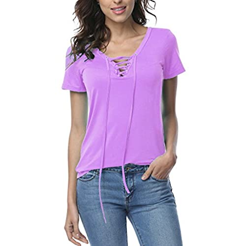 DREAGAL Womenu0027s Eyelet Lace Up Short Sleeve Top Light Purple Medium