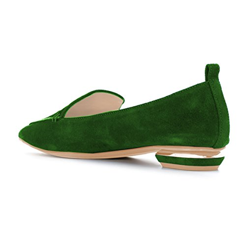 Fsj Women Fashion Scarpe A Punta Tacco Basso Mocassini Casual Slip On Summer Shoes Taglia 4-15 Us Verde-pelle Scamosciata