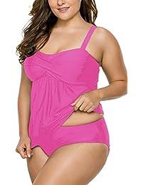 Women's Straps Swimdress Plus Size Two Pieces Tankini Bikini Set