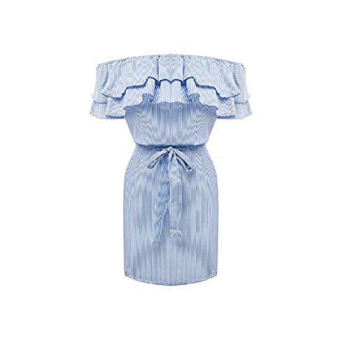 Fête De Cocktail Courte Robe Des Femmes Sygoodbuy De L'épaule Robe À Volants Avec Bande Été Sexy Imprimé Imprimé Bleu Foncé