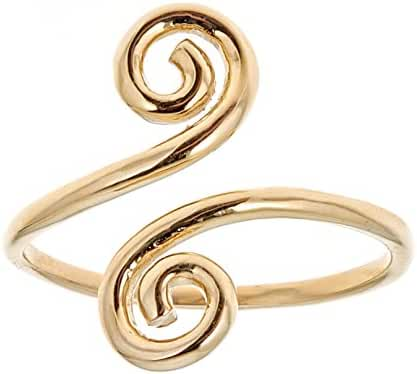 10k Solid Yellow Gold Swirl Adjustable Ring or Toe Ring