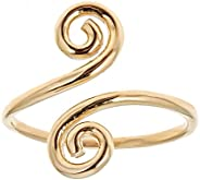 10k Yellow Gold Swirl Crossover Adjustable Ring or Toe Ring Body Art