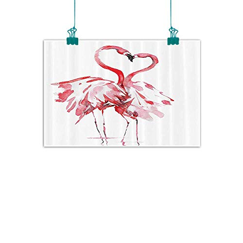 Flamingo Decor Abstract Painting Flamingo Couple Kissing Romance Passion Partners in Love Watercolor Effect Art Work Natural Art 47