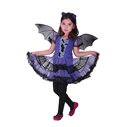 (ZOEREA Bat Girls Fairy Halloween Cosplay Party Magical Dress Kids Costume Label L/Height 47-51)