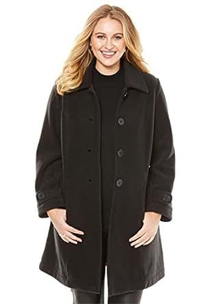 Roamans Women's Plus Size Plush Fleece Jacket Black,S