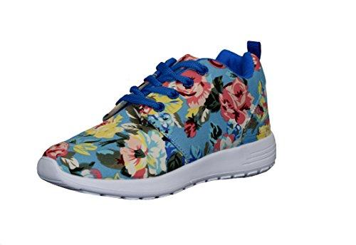 S&LU tolle Mädchen Schnürschuhe, Sneakers mit schönem Allover-Blumenprint Größe 25 - 36 Blau