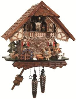 Quartz Cuckoo Clock Black forest house, turning mill-wheel, moving seesaw