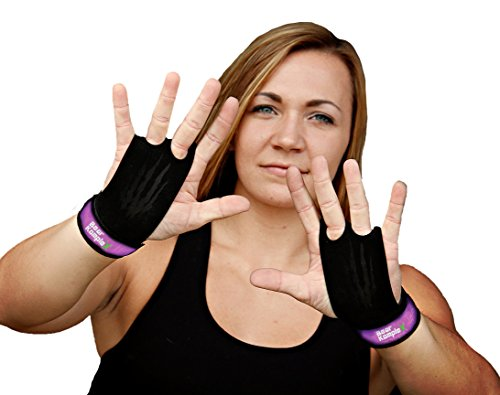 Bear KompleX 2 Hole Leather Hand Grips for Gymnastics & Crossfit, Pull-ups, Weight Lifting. WODs w, Wrist Straps. Comfort & Support- Hand Protection from Rips & Blisters. (Purple, Small)