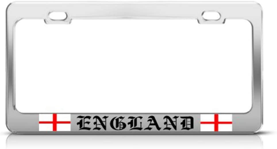 Georges Cross England Flag Country Car Accessories Chrome 2 Holes Metal License Plate Frame St