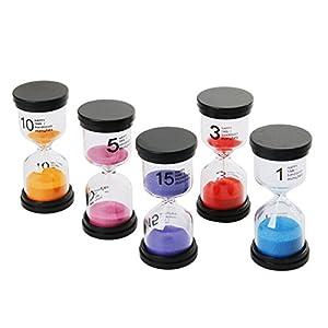 Funhoo 5 Colores Reloj de Arena de 1Min/ 3Mins / 5Mins / 10Mins / 15Mins, Temporizador para Limpiar los Dientes para Niño, Juego en el Aula y Mesa, Ejercicio de Gimnasio, Decoración para Hogar 1