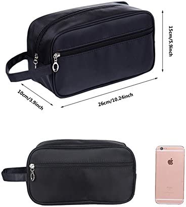 Tumecos Toiletry Dopp Kit Travel Electronics Organizer Shaving Accessories Bag with Carry Handle Black