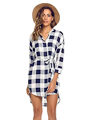 SummerRio Women's Casual 3/4 Sleeve Plaid V Neck Loose Belted Tunic Shirt Dress