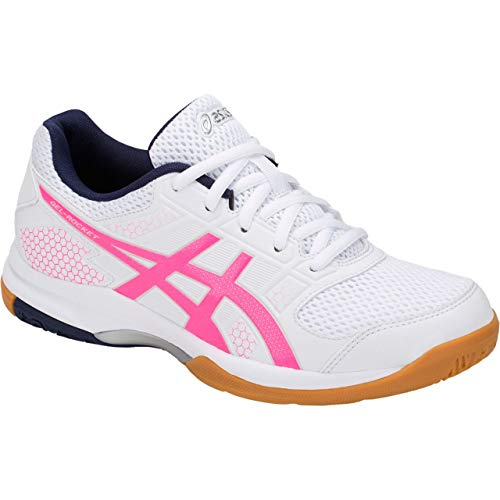 ASICS Womens Gel-Rocket 8 Volleyball Shoe (White/Hot Pink, 7.5 M US)