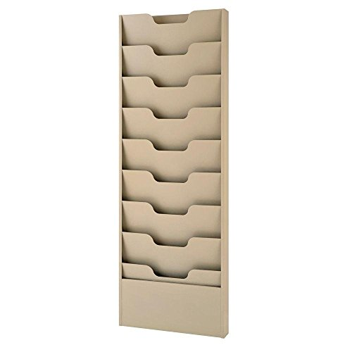 Buddy Products 9 Pocket Data Rack, Steel, 2 x 40 x 13.5 Inches, Putty (0806-6)