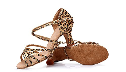 raso Scarpe Wx tacco 34 ballo 40 da Lady da alto Morbido donna sfondo leopardo latino in Xw Adult latino Stampa vgqpp