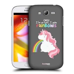Quaroth - Head Case Long Unicorn Rainbow Puke Back Case For Samsung Galaxy Grand I9082