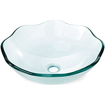 Miligoré Modern Glass Vessel Sink - Above Counter Bathroom Vanity Basin Bowl - Scalloped Clear