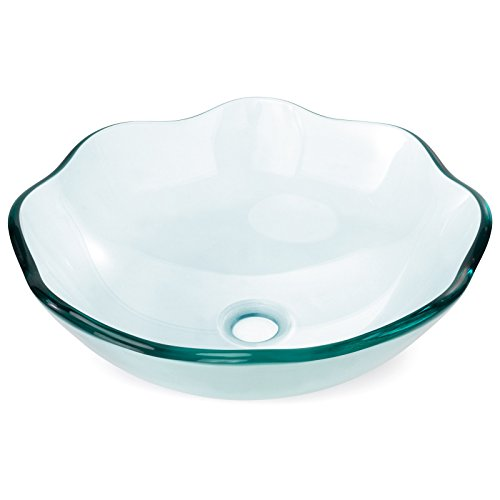 Bowl Vanity Vessel Sink - Tempered Glass Vessel Bathroom Vanity Sink Scalloped Bowl, Clear Color