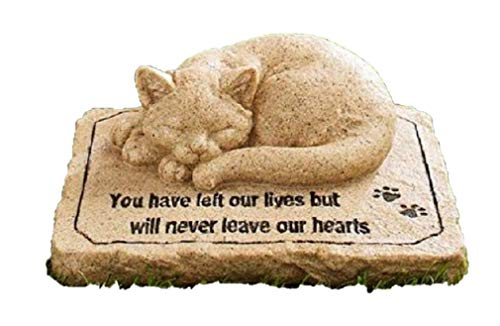 (CT DISCOUNT STORE Cat Memorial Stone Cold Cast Ceramic Memorial Garden Backyard (Flower Greenery Cat))