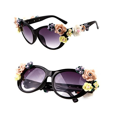 2015 NEW DIY Flower Sunglasses women brand designer oval rose floral sun glasses spectacles shades GIRL outdoor Summer Beach - Diy Sunglasses