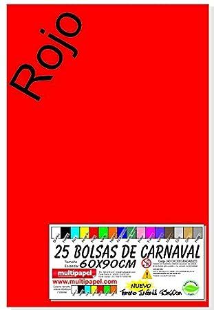 BOLSA PLASTICO CARNAVAL PAQUETE 25 BOLSAS 60X90CM (ROJO)