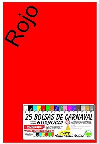 BOLSA PLASTICO CARNAVAL PAQUETE 25 BOLSAS 60X90CM (ROJO) Niefenver