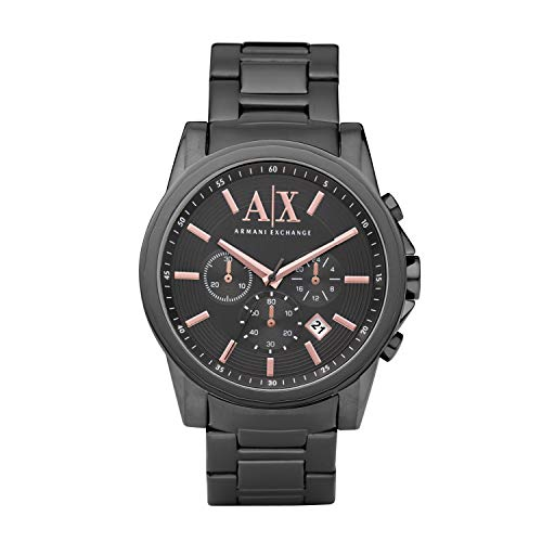 Armani Exchange Men's Grey IP Plated Stainless Steel Watch - Ip Watch Plated