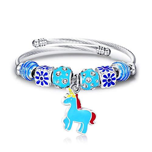 Lateefah Handmade Cuff Bangle Stacking Bracelet Adjustable Stainless Steel Jewelry Open Cuff Bracelet Bangle Unicorn Pendant Bangle Unisex Girl Boy Women Men