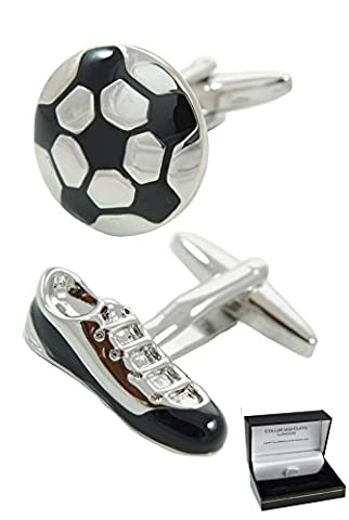 COLLAR AND CUFFS LONDON - Sporty HIGH QUALITY Soccer Ball and Boot Cufflinks - Solid Brass - Perfect For Soccer Fans Everywhere - Silver and Black Colours - Presentation Gift Box Included - Sport