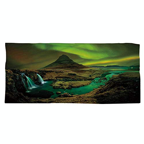 iPrint Large Cotton Microfiber Beach Towel,Northern Lights,Pale Weather Over The Hills with Waterfall Creek Nature Landscape,Fern and Olive Green,for Kids, Teens, and Adults