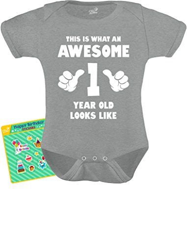TeeStars - This is What an Awesome One Year Old Looks Like Funny Baby Bodysuit 12M -
