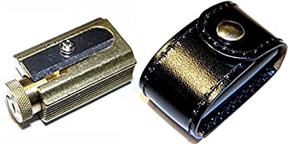 DUX Pencil and crayon Sharpener made of brass in a genuine leather case Sharpeners Home & Kitchen