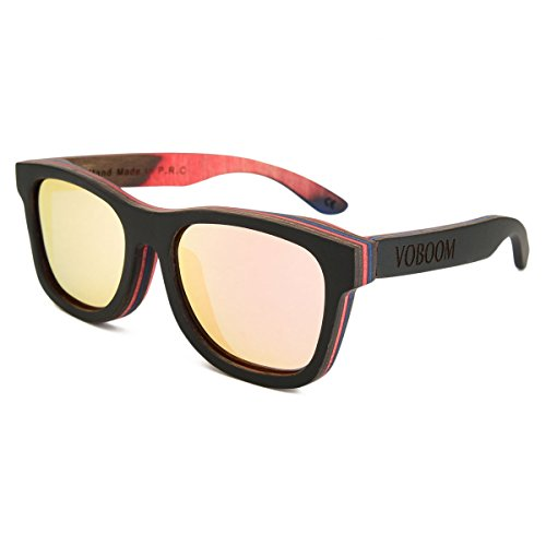 3470b2a027 VOBOOM® Hand-Made Black Skateboard Wood Sunglasses For Mens Womens with  Polarized Lens G-S001-HH - Buy Online in UAE.