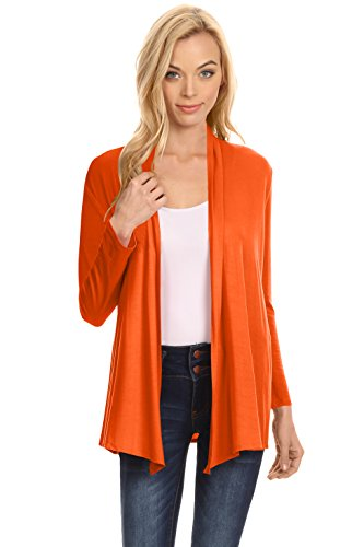 Simlu Womens Open Drape Cardigan Reg and Plus Size Cardigan Sweater Long Sleeves - USA Orange Large