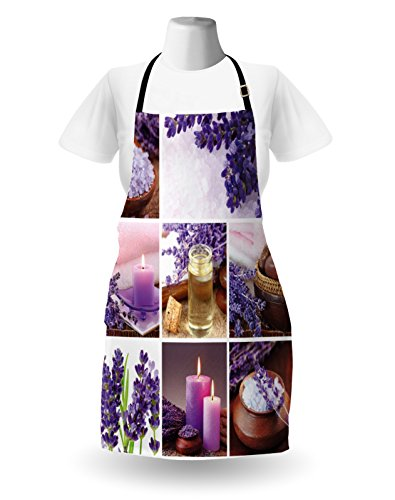 Lunarable Spa Apron, Lavender Garden Alike Themed Relaxing Candles Stones Herbal Salt Elements Image, Unisex Kitchen Bib Apron with Adjustable Neck for Cooking Baking Gardening, Purple and White by Lunarable (Image #1)