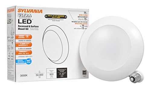 Sylvania 73676 Bright White 3000K Ultra Light Disk LED 75W Recessed and Surface Mount Downlight Kit with Medium Base
