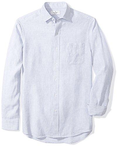 Buttoned Down Men's Classic Fit Spread-Collar Sport Shirt, Light Blue Stripe, L 34/35