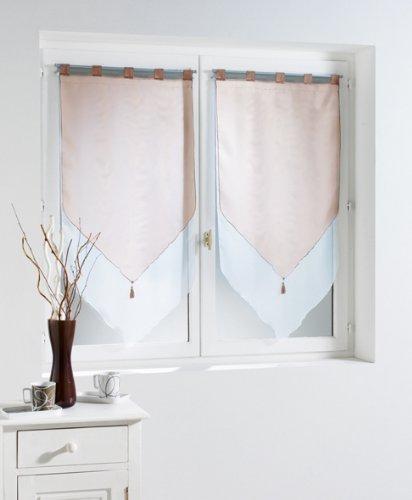 Douceur d'Intérieur - Paire Pompon Voile Bicolore - Blanc/Taupe - 2 x 60 x 120 cm