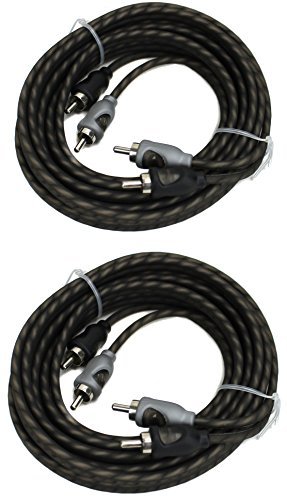 2) Rockford Fosgate RFI-16 16' Ft Twisted 2 Ch RCA Car Audio Signal Cables RFI16 ()