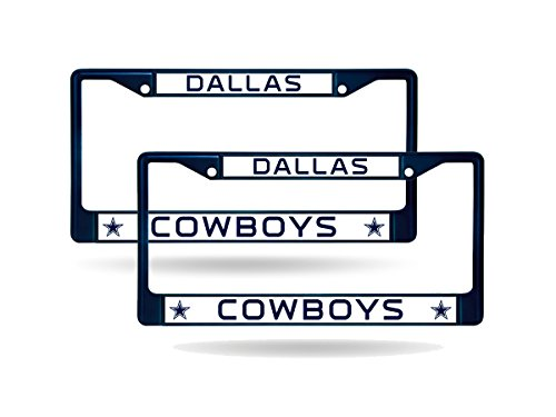 Rico Dallas Cowboys Blue Painted Chrome Metal (2) License Plate Frame Set