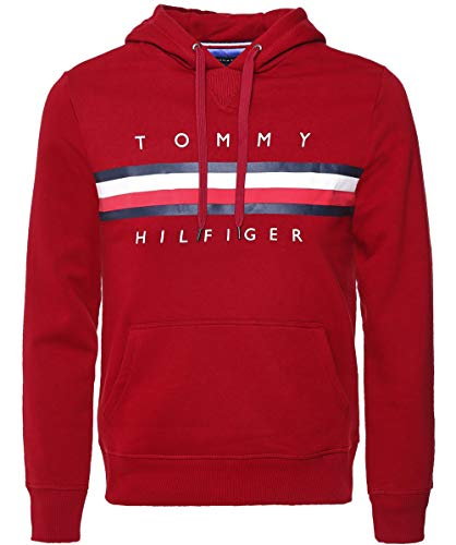 Rouge Pullover Hoody Logo Hilfiger Tommy 1EUnHq6IU