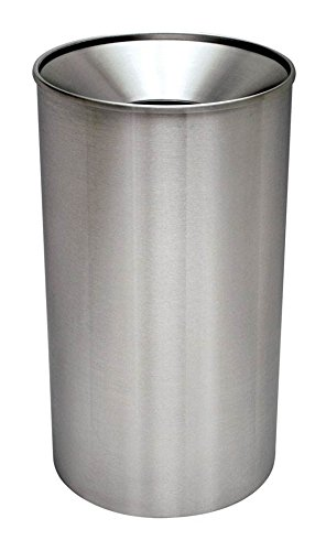 Ex-Cell Kaiser WR-33F S/S Premier Series Steel Indoor/Outdoor Waste Receptacle with Polished Satin Finish, 33 Gallon Capacity, 18-1/4