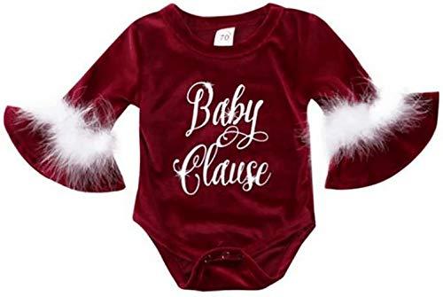 LOTUCY Newborn Baby Xmas Santa Baby Claus Velvet Bodysuit Romper Jumpsuit Onesies Costume Size 18-24 Months/Tag100 (Red) -