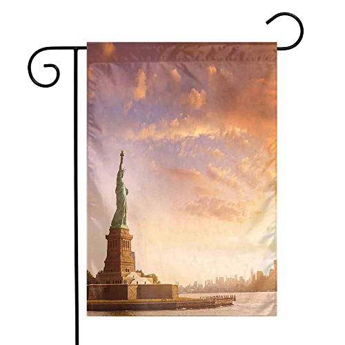 Landscape Garden Flag Statue of Liberty Land of Free Home of Brave New York Scenery with Clouds Image Premium Material W12 x L18 Multicolor