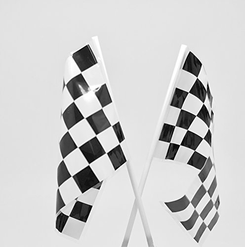 GIFTEXPRESS Pack of 72, Mini Plastic Checkered Flags Bulk Party Supplies 4 x 6 Inch/ Black and White Racing Flags Polyester for Racing Themed Parties, Pinewood Derby Events