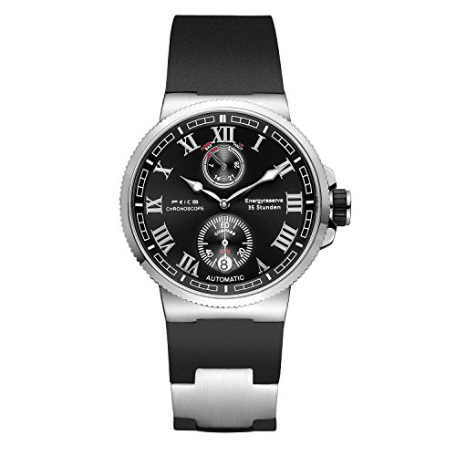 FEICE Men's Automatic Watch Mechanical Analog Waterproof Wrist Watches Sapphire Sport Swimming Mens Watch Simple Casual Dress Watches for Men FM1405 (Black-2)