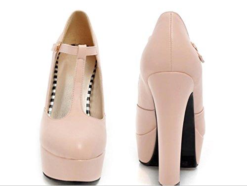 YCMDM DONNA Ultra High con la moda scarpe T stazione Buckle impermeabili della piattaforma singoli pattini , pink , 33